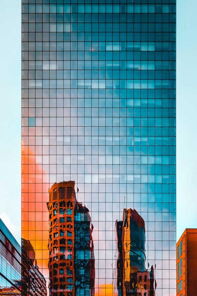 mirror facade of tall building 1963557